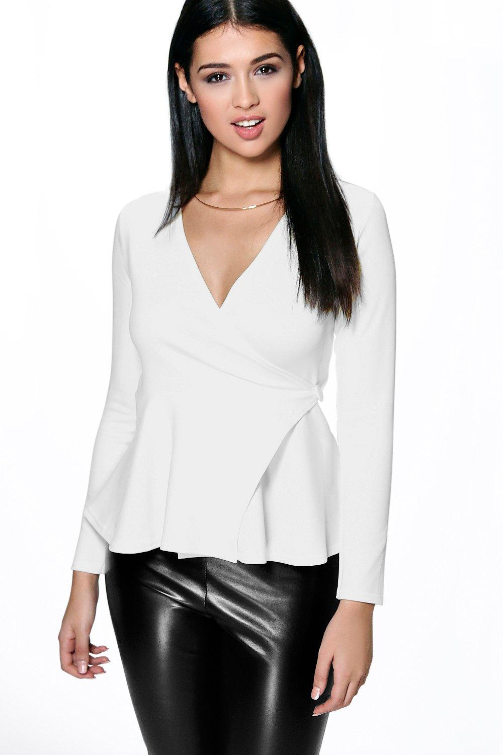Patrice Wrap Over Button Peplum Top