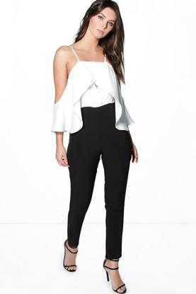 Alice Cut Away Shoulder Frill Jumpsuit