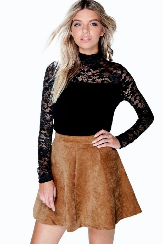 Summer Long Sleeve Lace Yoke Turtle Neck Top
