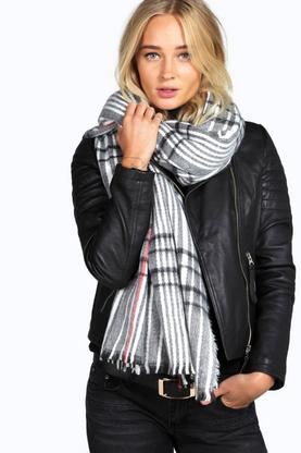 Hannah Checked Oversize Blanket Scarf