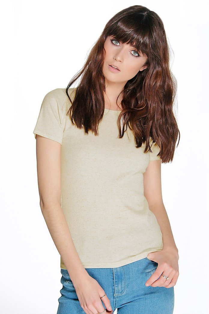 Ava Scoop Neck Ribbed S/S Top