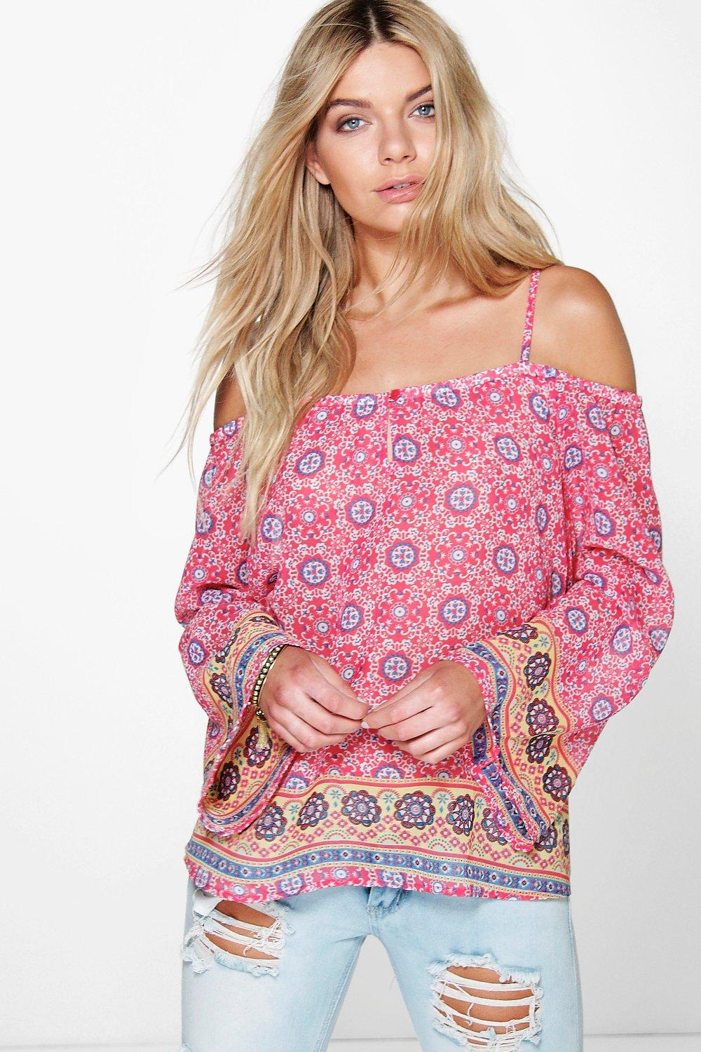 Daisy Cold Shoulder Printed Woven Top