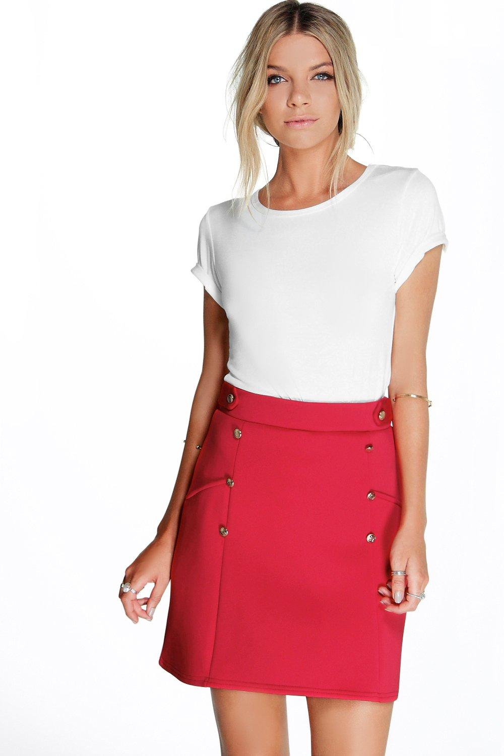 Samantha Button Front A Line Mini Skirt