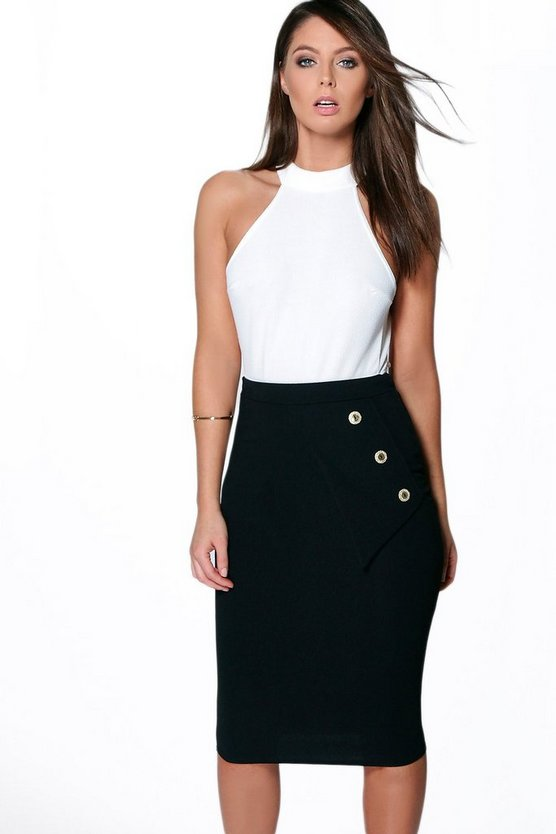Sofia Button Side Crepe Midi Skirt