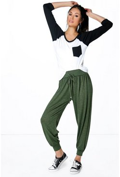Yazmin Loose Fit Melange Knit Relaxed Joggers