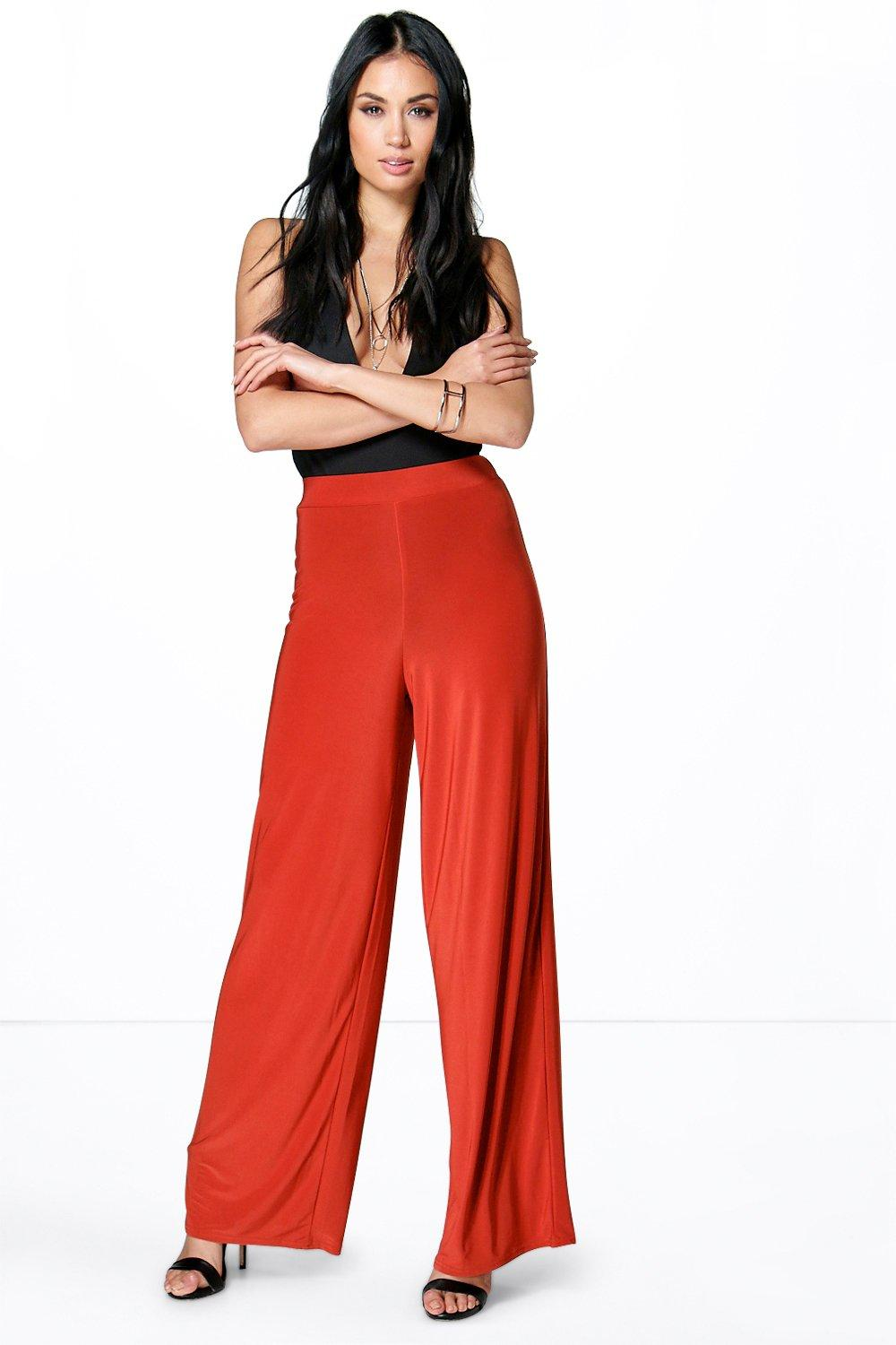 Slinky Floor Sweeping Wide Leg Trousers spice