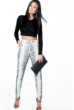 Willow Monochrome Snake Print Skinny Trousers