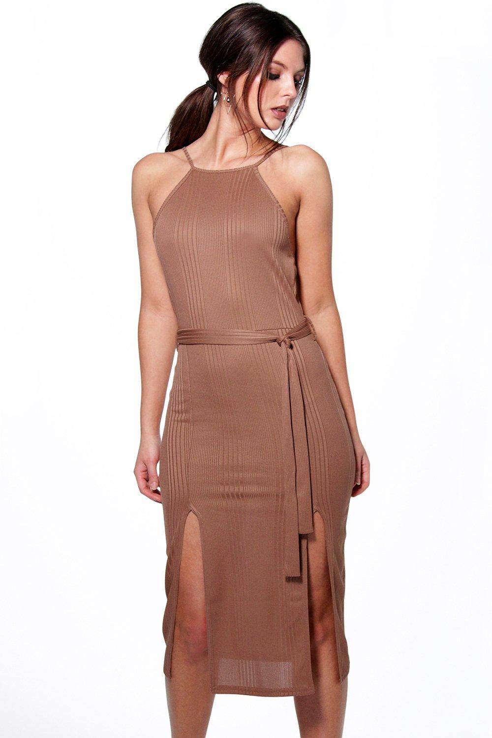 Carol Ribbed Tie Waist Midi Dress