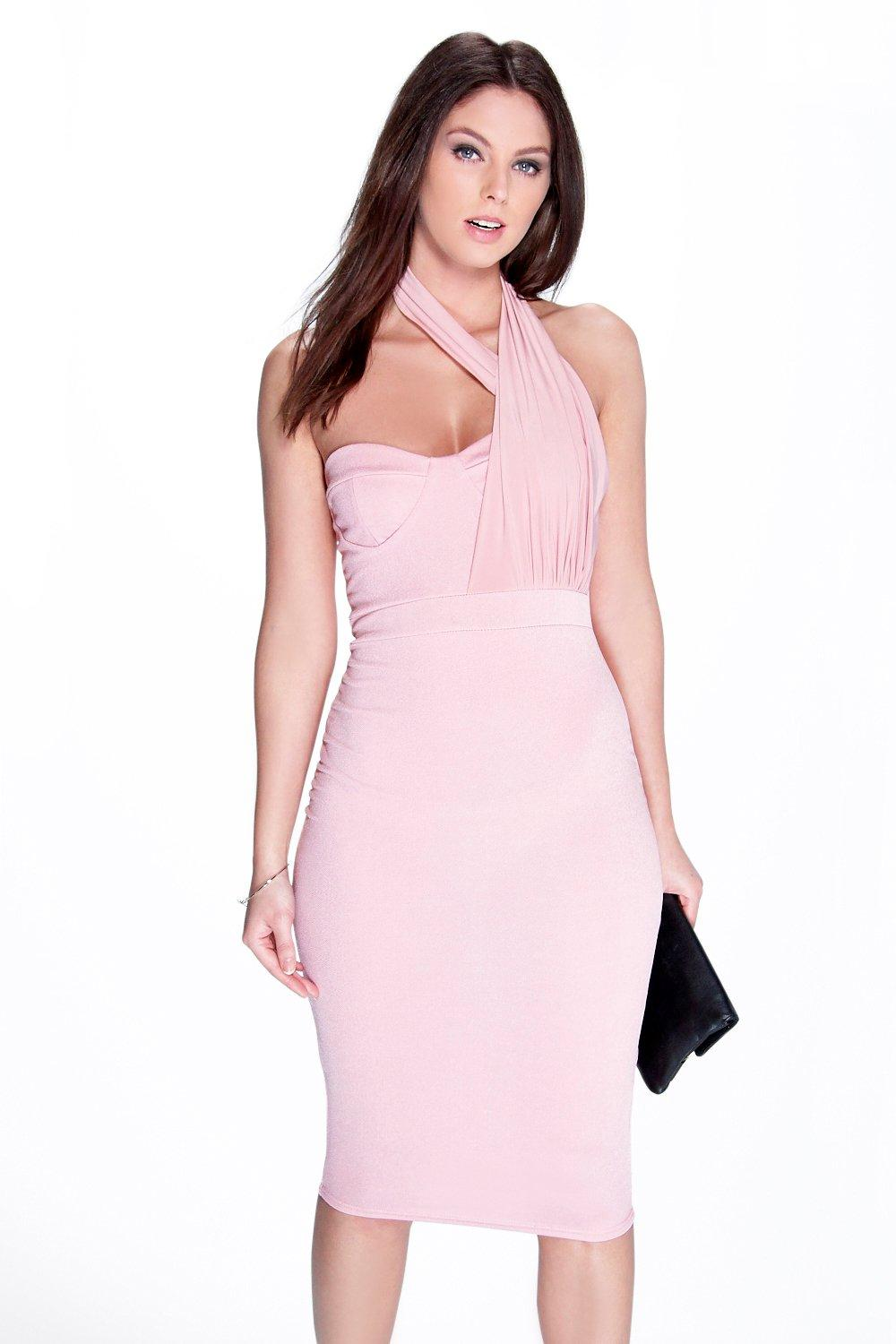 Leah Slinky Twist Neck Bandeau Midi Dress