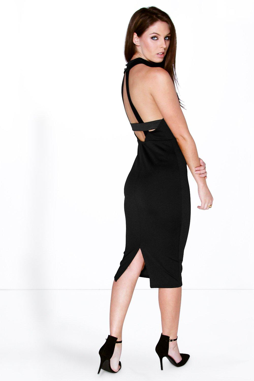 Hayley Back Strap Detail High Neck Midi Dress