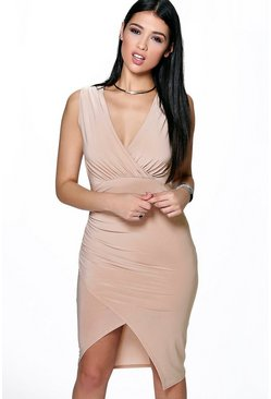 Laura Plunge Neck Wrap Slinky Dress