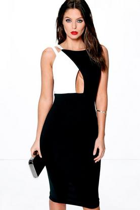 Vicky Strappy Monochrome Midi Bodycon Dress