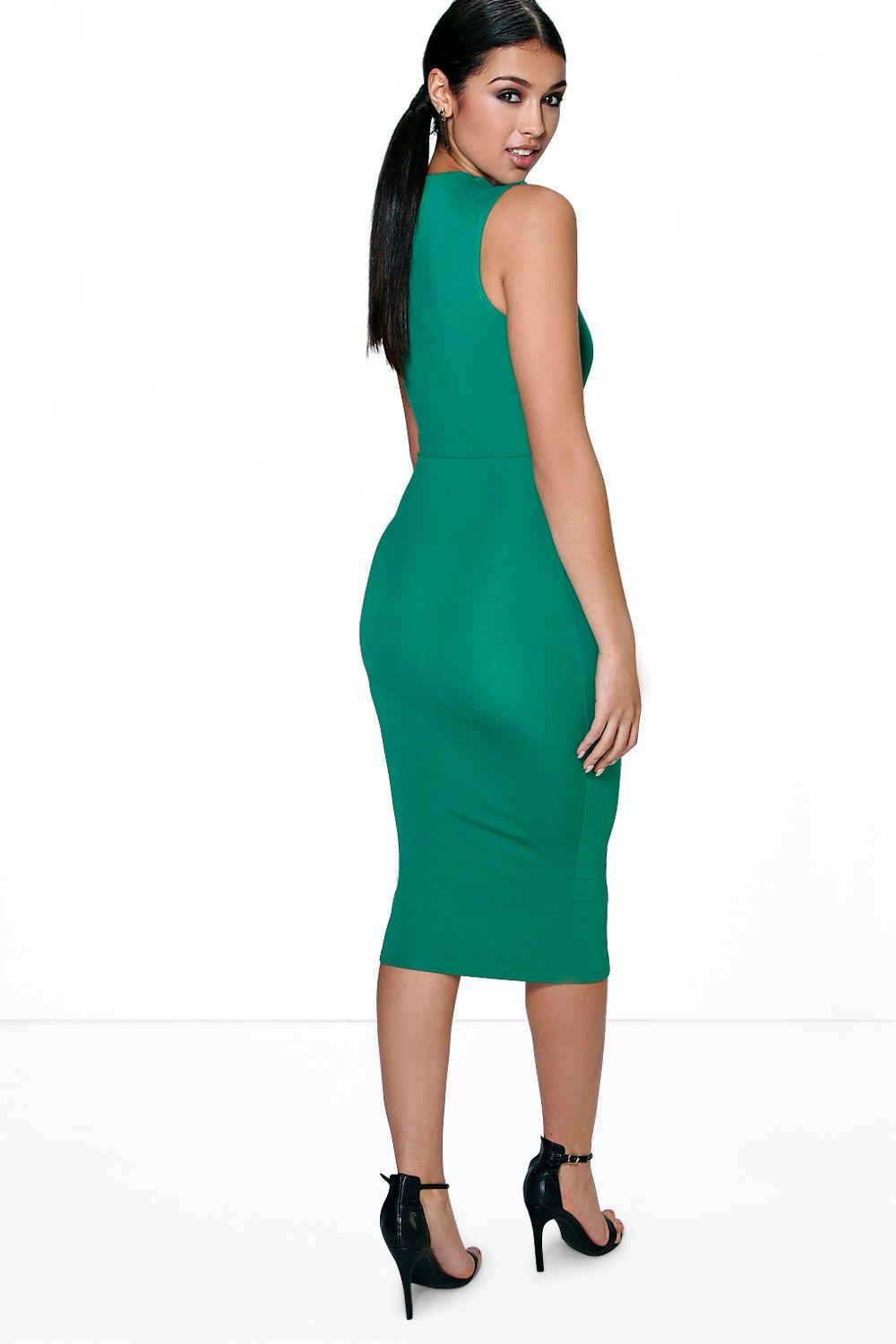 Sia Square Neck Zip Front Midi Bodycon Dress | Boohoo
