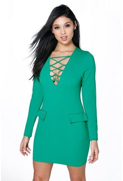 Zena Lace Up Pocket Detail Bodycon Dress