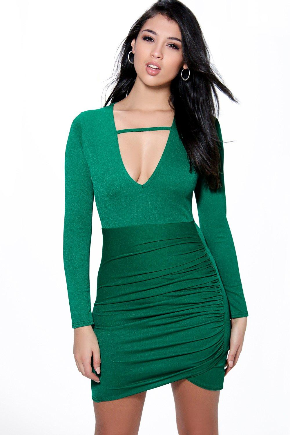 Ivy Plunge Strappy Neck Bodycon Dress