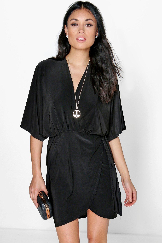 Oversized Wrap Top Bodycon Dress black