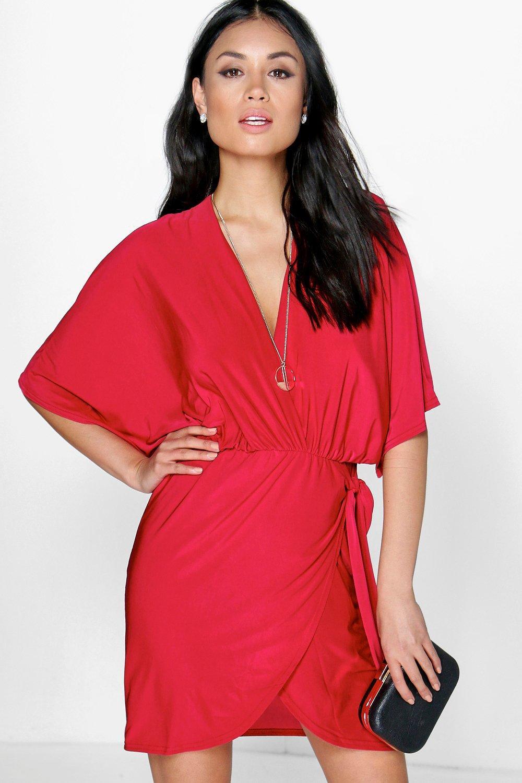 Oversized Wrap Top Bodycon Dress scarlet