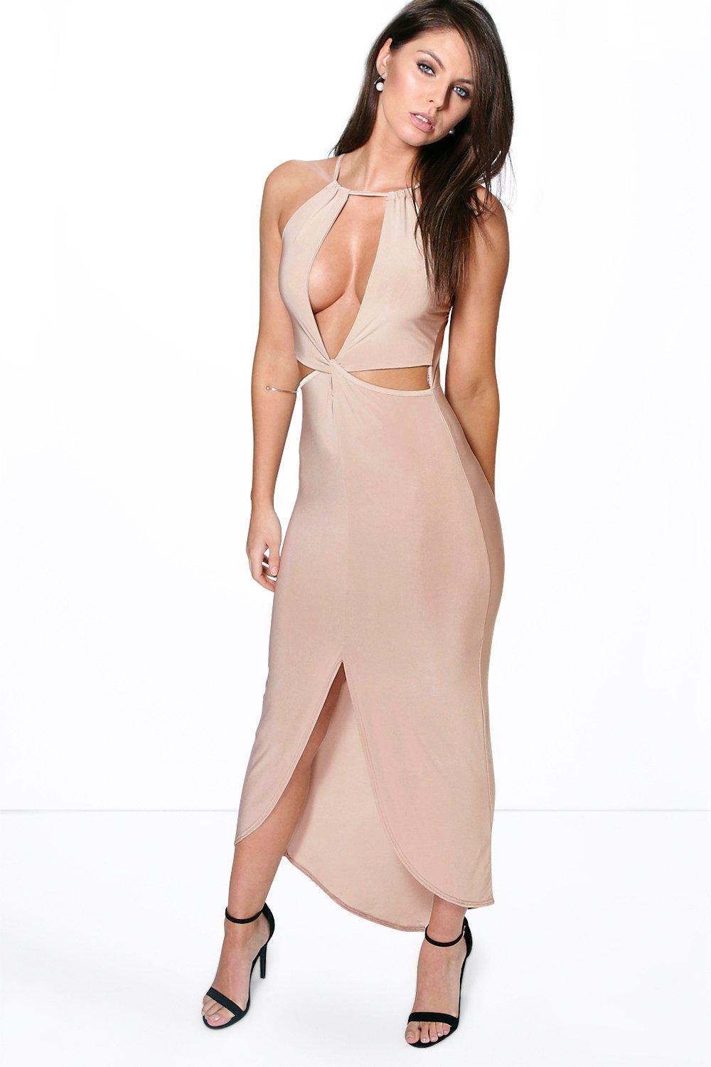 Slinky Cut Out Front Split Maxi Dress stone
