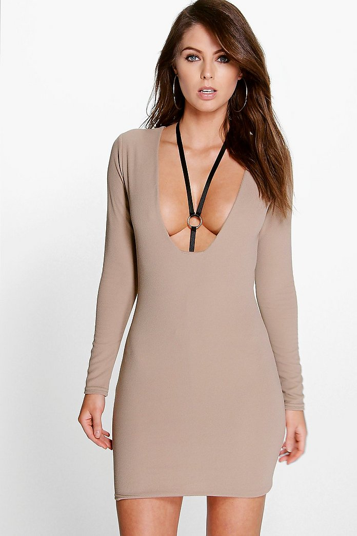 Claudia Square Plunge Bodycon Dress