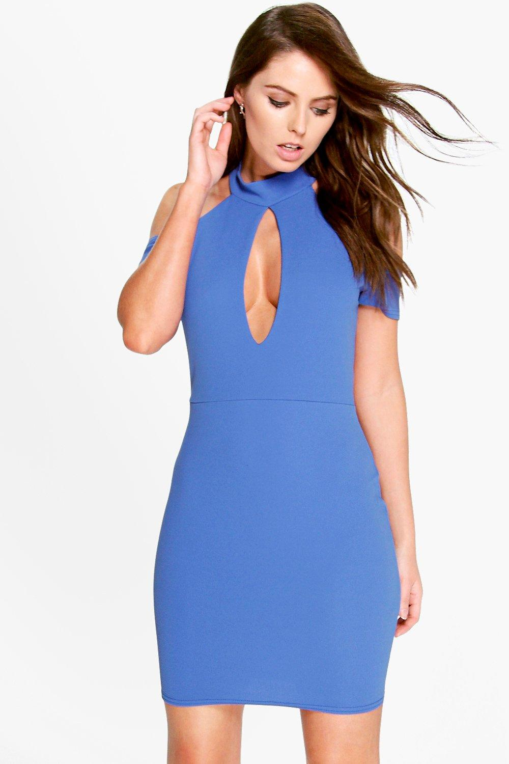 Lilly High Neck Cut Out Detail Bodycon Dress