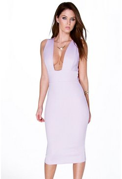 Hollie Square Plunge Neck Midi Bodycon Dress