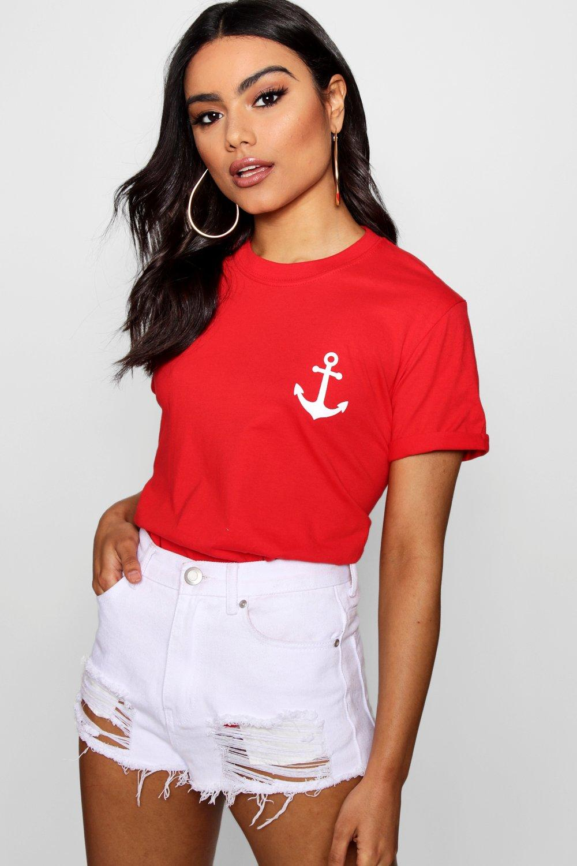 Womens T-Shirt mit Anker-Aufdruck - red - L, Red - Boohoo.com