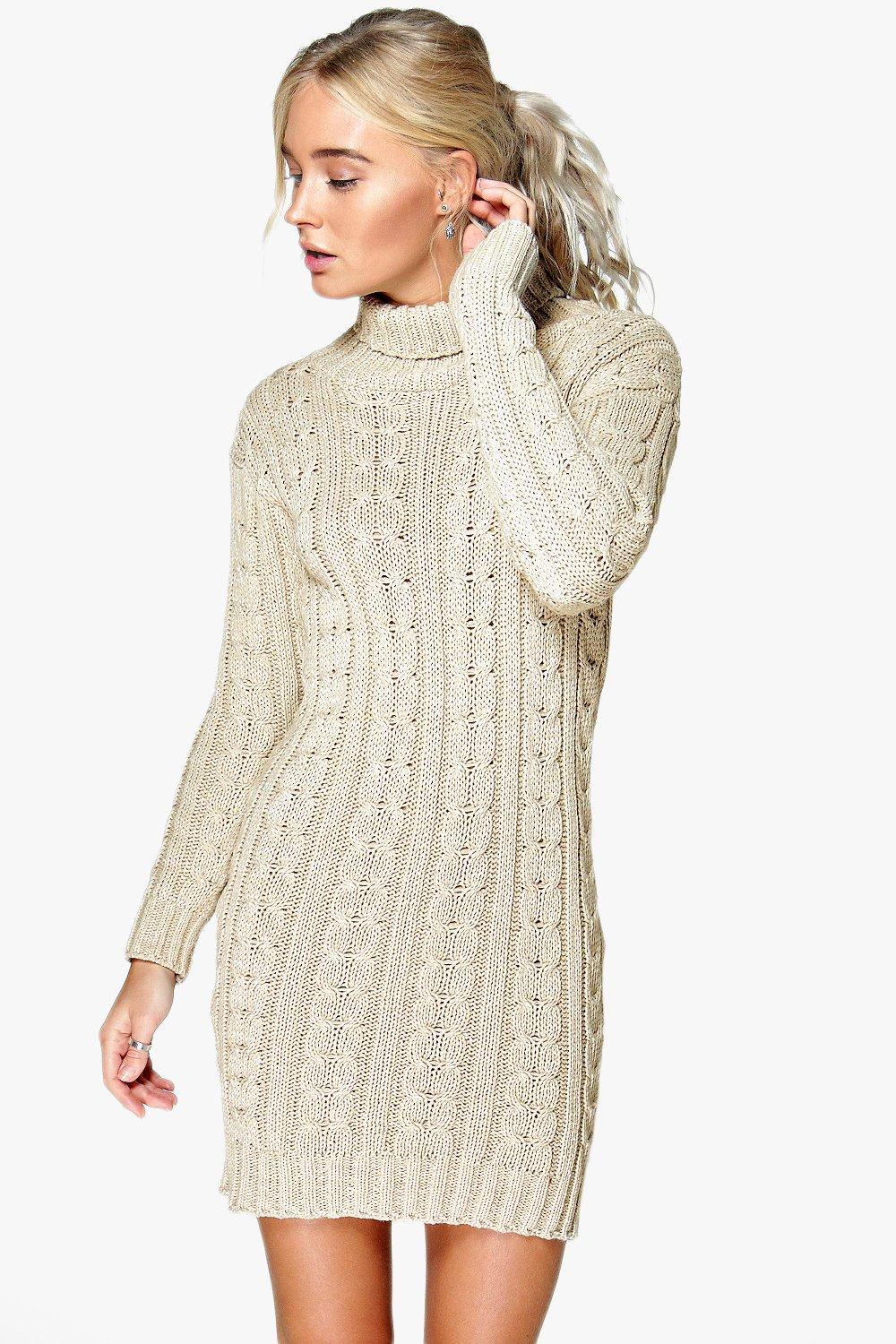 Knitting Pattern Jumper Dress : Lottie Cable Knit Jumper Dress Boohoo