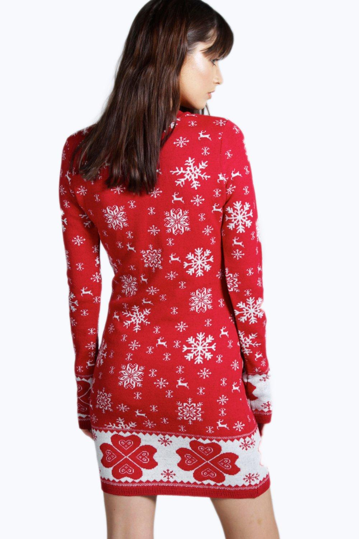 Boohoo Dress 送料無料 cream Reindeer & Snowflake Christmas Jumper
