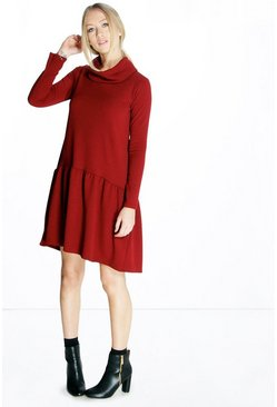 Darleene Cowl Neck Trapese Dress