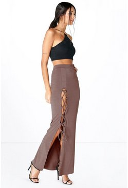 Tassa Lace Up Side Maxi Skirt