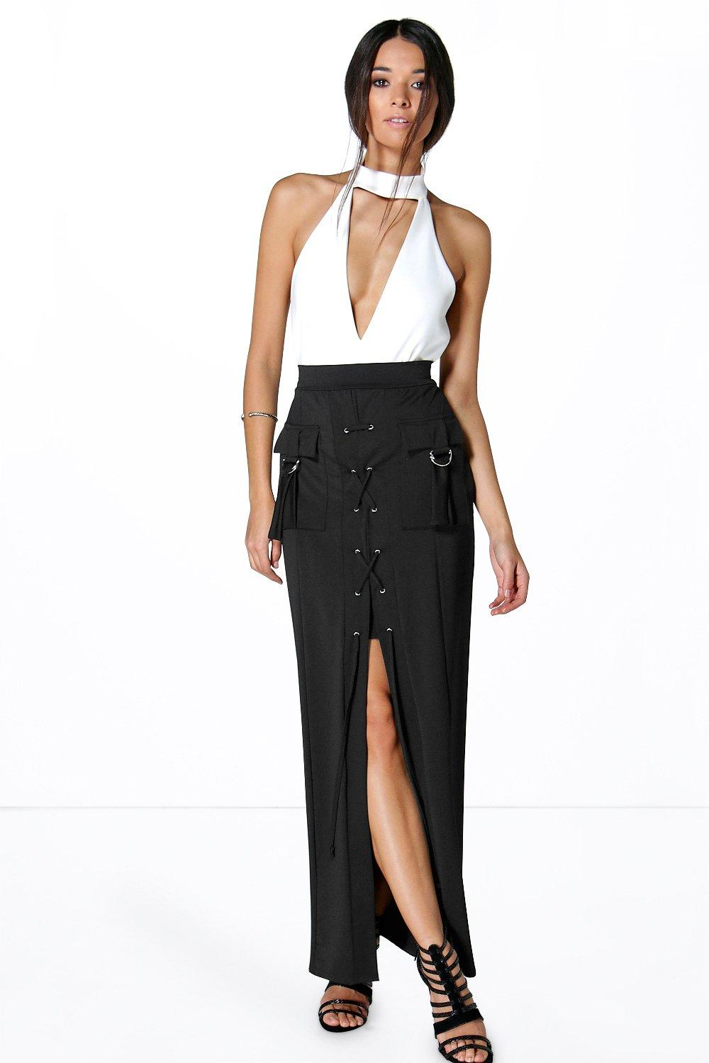 Giselle Lace Up Front Pocket Detail Maxi Skirt