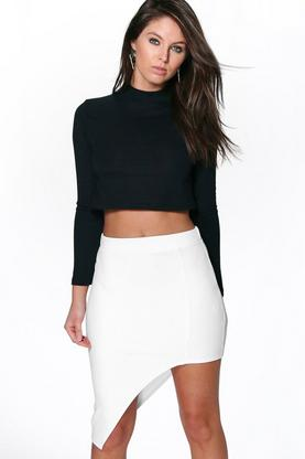 Carmela Asymetric Hem Ribbed Skirt