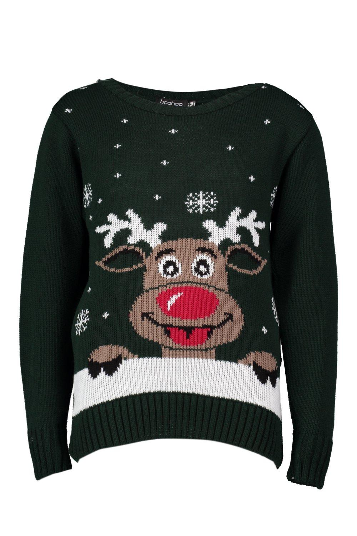boohoo womens amy kids reindeer christmas jumper ebay. Black Bedroom Furniture Sets. Home Design Ideas
