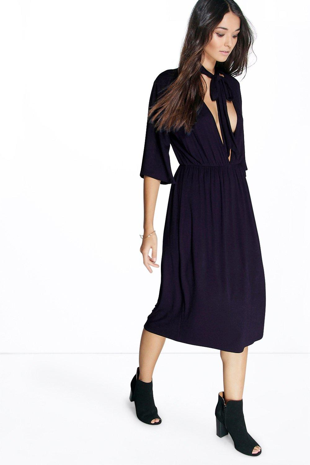 Ayarisa Collar V Neck Midi Dress