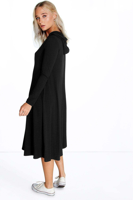 Boohoo Womens Ana Hood Asymmetric Long Sleeve Swing Dress