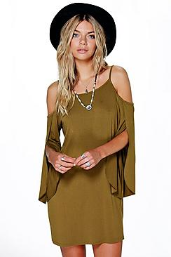 Loraine Cold Shoulder Split Shift Dress