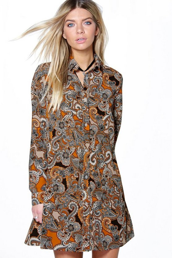 Sally Paisley Long Sleeve Shirt Dress