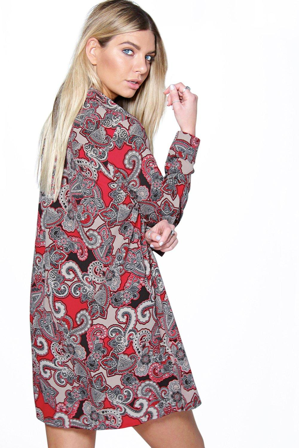 Boohoo Womens Sally Paisley Long Sleeve Shirt Dress In Red