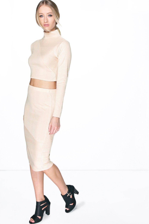 Contrast Rib Knit Midi Skirt beige
