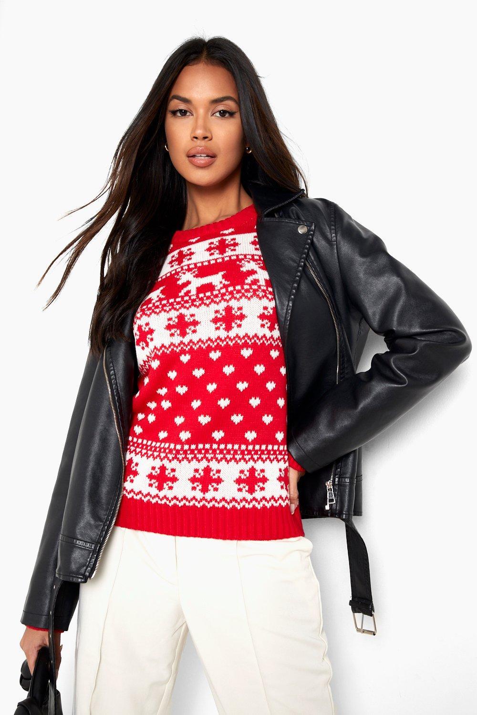 Reindeer & Snowflake Christmas Jumper  red