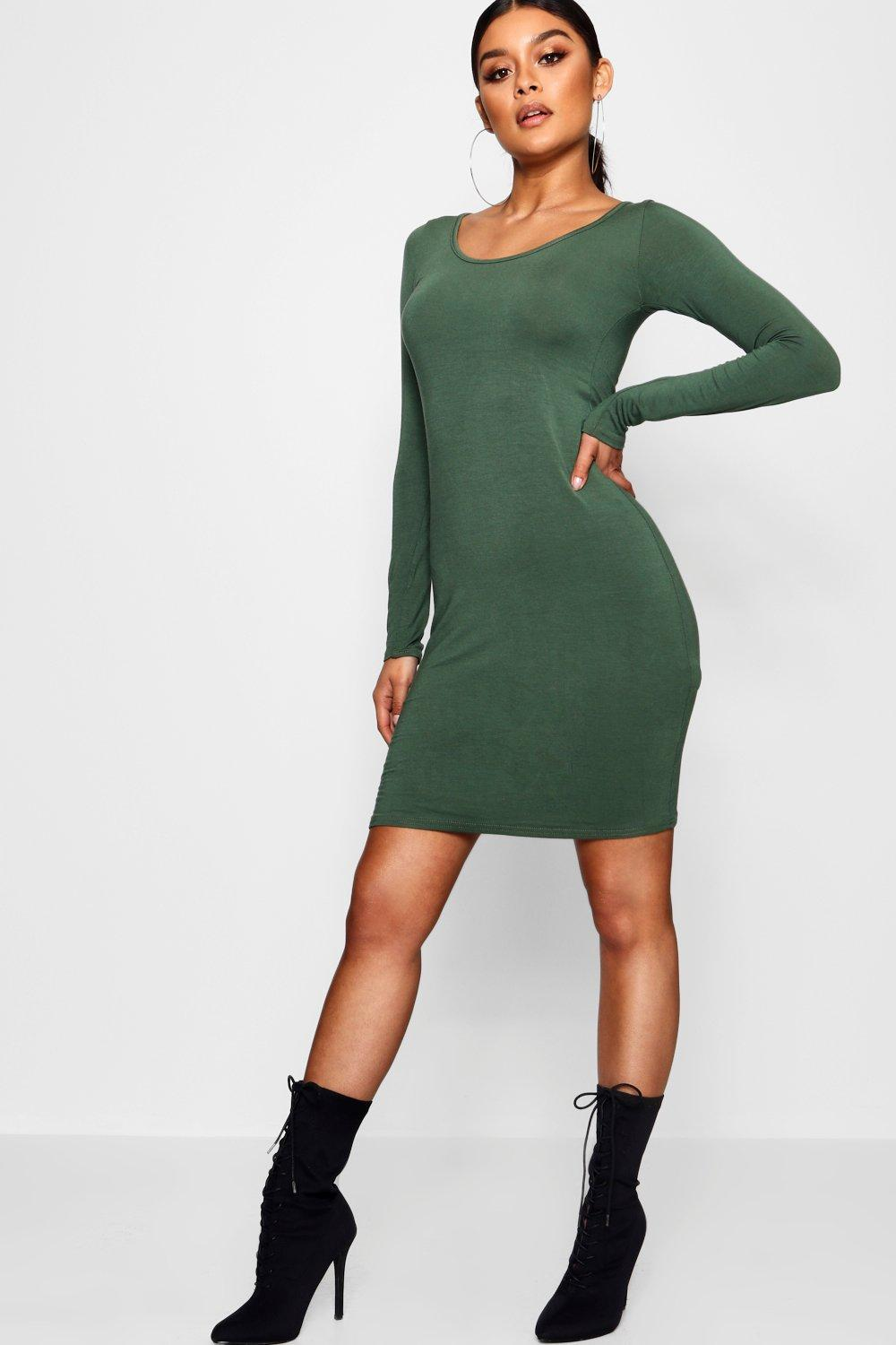 Lucie Long Sleeve Scoop Neck Bodycon Dress