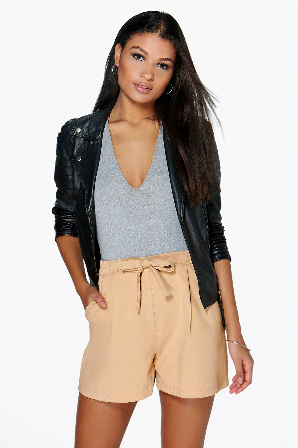 Amber Longer Length Tie Belt Pleated Shorts
