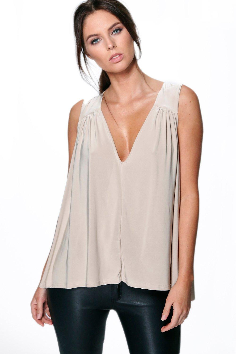 Sarah Cape Back Slinky V Neck Top