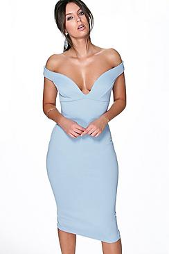 Skye Sweetheart Off Shoulder Midi Dress