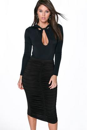 Giana Rouched Front Midi Skirt