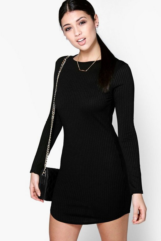 Cara Boat Neck Rib Curved Hem Bodycon Dress
