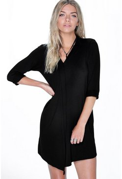 Rose Long Sleeve Wrap Shift Dress