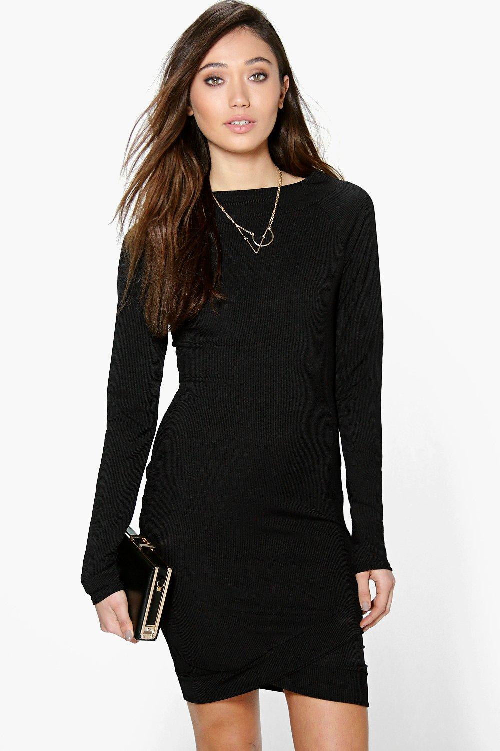 Asymmetric Hem Rib Bodycon Dress  black