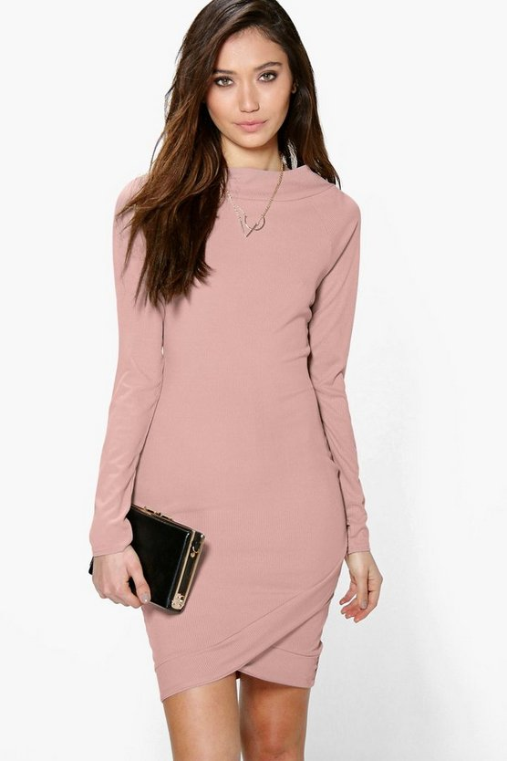 Crina Asymmetric Hem Rib Bodycon Dress