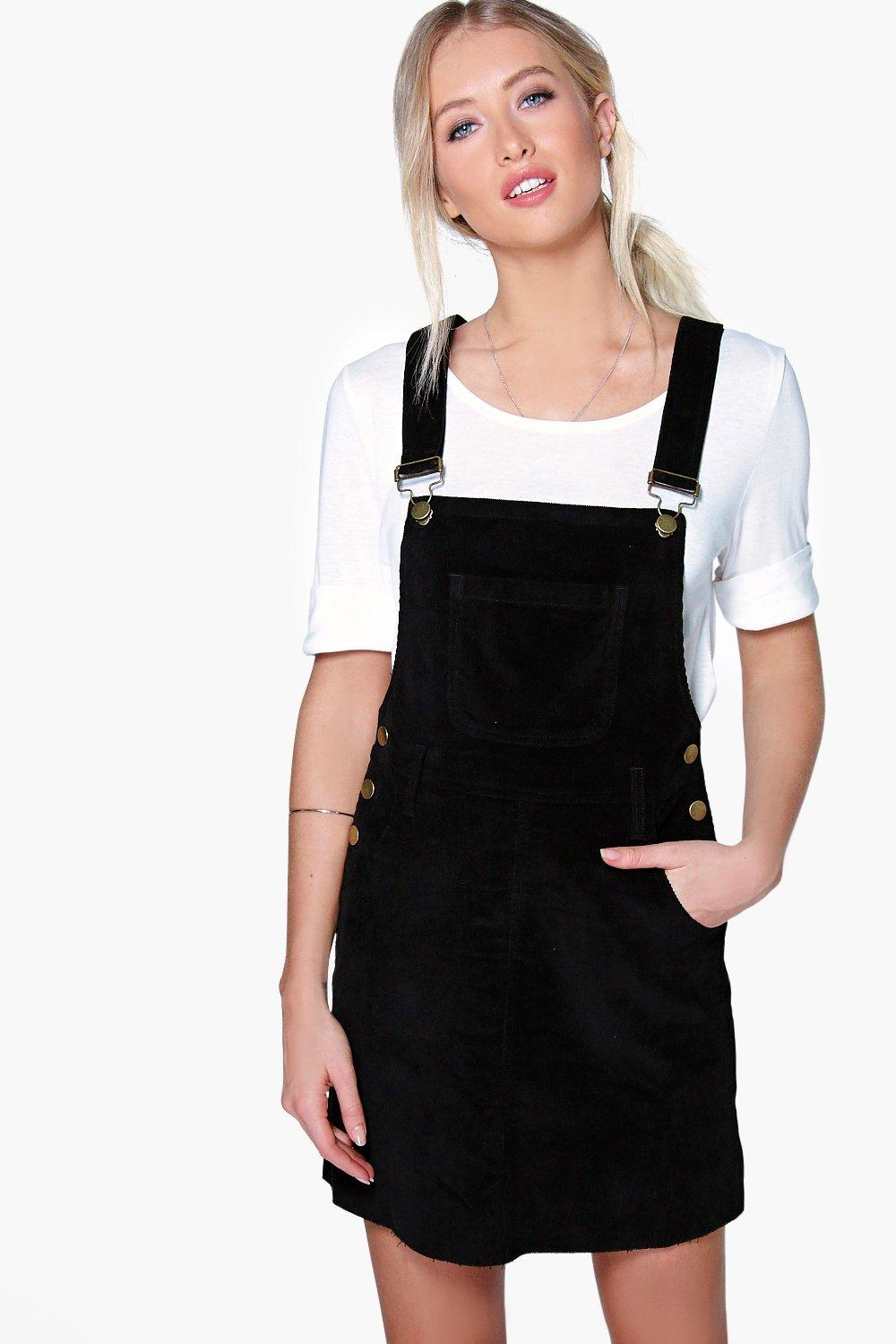 Cord Dungaree Pinafore Dress  black